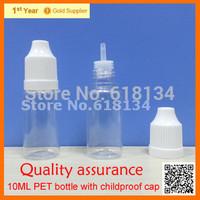 Wholesale 2500pcs  PET 10ML Plastic bottles With Childproof Cap With Long Thin Tip, Dropper Bottles  E-cigarette