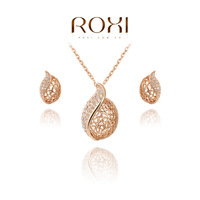 HSTORE Christmas gift classical crystal set,Gift to girlfriend 100% hand made,fashion gold jewelry earrings+necklace,2070020995