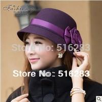 2014 women hat spring quality woolen fashion thickening cap bucket hats rose women's cap fashion hat
