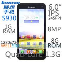 Original Lenovo S930 Multi language Mobile phone 6IPS 1280x720 MTK6582 Quadcore1.3G 1GRAM 8GROM  Android 4.2 8MP