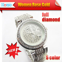 Latest Diamond Decoration Watch Big Logo Design Full Rhinestone Inlaid Women Diamond Strap Dress Casual Watches Free Shipping