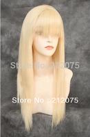 "14""-26""inches Fashion long Straight hair *Bangs Pale Blonde HEAT OK Wig"