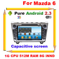 Free shipping-New Mazda 6 2008-2012 Pure Android 2.3 Car DVD GPS with 1G CPU,512M RAM,Capacitive screen,Canbus(Optional-3G,Wifi)