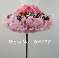 new lovely baby girl fluffy chiffon pink satin printed pettiskirt for 2-11Y girls high quality free shipping