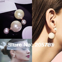 2014 12colors fashion brand women's pearl candy piercing statement wedding stud earrings 2sizes brincos perle pendientes boucles