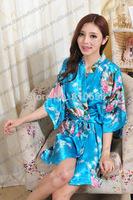 Free Shipping 2014 Hot Sales Japanese Style  Short Kimono For Ladies' Peacock  Robe MOQ 1 PC