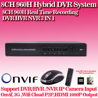 1080P HDMI 8ch Full 960H CCTV DVR recorder  recording valid Remote Network Mobile Phone View 8ch stand alone DVR NVR HVR ONVIF