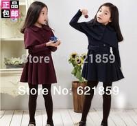 Free shipping Autumn And Winter Girls new coat Shawl windbreaker jacket  Girls spring fashion dress Wine red and dark blue