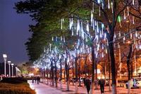 50CM Meteor Shower Rain Tubes LED Light For Christmas Wedding Garden Tree Decoration Lamp 100-240V/EU White B16 TK1325