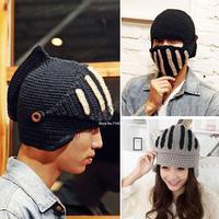 New Fashion winter hat thick women men Roman knight hat warm wool cap masks 2colors drop shipping 19307