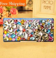 Colorful Female Purse Genuine Leather Rhinestones Wallets Diamond Crystals Horsehair Women Messenger Bags Necessaire Mochila Bag