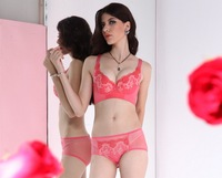 Four Hook-and-eye Adjustment Style Thin Cup Push Up  Bra Set (Bra+Panties) With Embroidery For Women .Cup B/C/D.FREE SHIPPING
