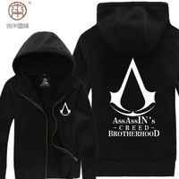 Hot!! Sale Novelty Full New 2014 High Quality Men's assassin's Creed Costume Hoodie Sweater Coat Jacket Assassins ,free Shipping