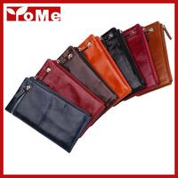 2014 New Long Oil Wax Genuine Leather Wallet Women Organizer Zipper Wallets Retro fashion Clutch Purse ,YW-DM3052