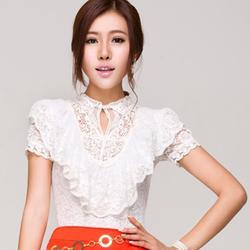 2014 Summer New Fashion Elegant Lace Short-Sleeve Tops Ruffle Beading Slim Waist Shirts Sweet Ladies Shirts