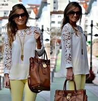 8 Color Plus Size  Women Lace Sleeve XXL Chiffion Blouses Tops Emboriey Gorgeous long Sleeve