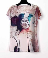 New Rock Punk T-shirt Ladies Tops Short Tshirt 3D Women Blouses Tops For Women Tee Shirt Women Music Girl Camiseta Feminina