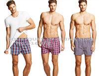 Large underwear Fat Male 100% cotton 5XL size loose flat feet panties breathable aro pants home plaid boxers shorts men bodywear