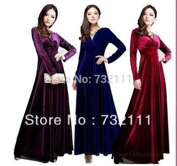 New 2014 Women Winter V Neck Vintage Gorgeous Elegant Shimmer Velvet Stretchy Long Sleeve Floor-Length Evening Dress