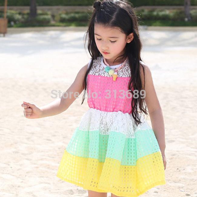 Retail - 2014 girls dress baby dress Splice cute dress princess dresses kids girl children Mixed color tcq 004 - s1(China (Mainland))