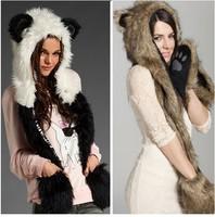 1 PC Fashion fur hat female winter animal cap faux fur one piece cartoon cap belt scarf  Free Shipping