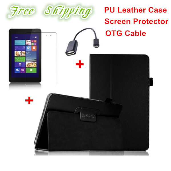 Litchi Pattern PU Leather Folio Case for DELL Venue 8 Pro Back Stand Cover 3pcs/set(case+film+OTG cable), Free Shipping(China (Mainland))