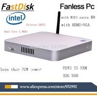 Fanless thin clients mini pcs intel celeron 1037u dual core 1.8GHz DDR3 2GRAM 32G SSD 6 sound channel audio  support XP/windows7