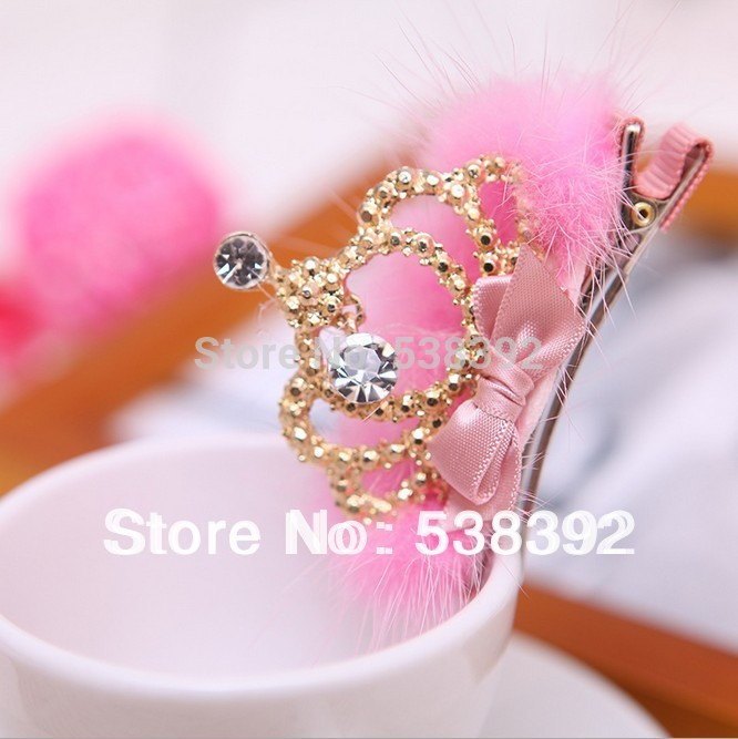 Cute!!! High Quality Baby Girls Tiaras Kids Accessories Resinstone Mink Fur Princess Gold Crown Hair Clips Children Accessories(China (Mainland))