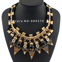 2014 New Jewelry Exaggerated Knitting Wool Pass Through Gold Metal Pipe,Resins Rhinestones Arrows Collar Choker Necklaces  NK277