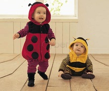 Fashion 3-24m Fleece Ladybird Bee Cartoon Baby Cosplay Costume Dress Romper Clothing Two Colors 9485(China (Mainland))
