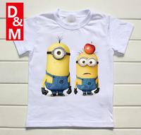 Cotton short sleeve children t shirts, cute cartoon t-shirt,Despicable me game boys girls t-shirt lovely figure kids wear 2014