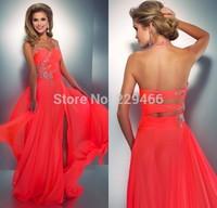 Halter Beaded Real Coral Slit Long Backless Evening Dress Formal Vestido De Festa Longo 2014 Party Dresses Vestido Formatura