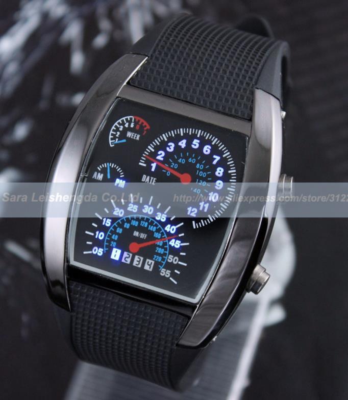 Mens Speed Binary Blue Led Dot Matrix Digital Unisex 3ATM Waterproof Sports Watch New(China (Mainland))