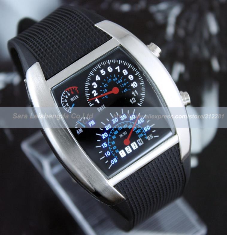 Mens Ladies Fashion Speed Binary Blue Led Light Digital Sports Wrist Watch Gift BOX(China (Mainland))