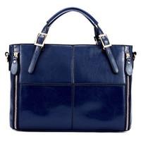 New fashion  designers 2013 women's genuine leather handbag patchwork handbag cowhide handbag women messenger bag