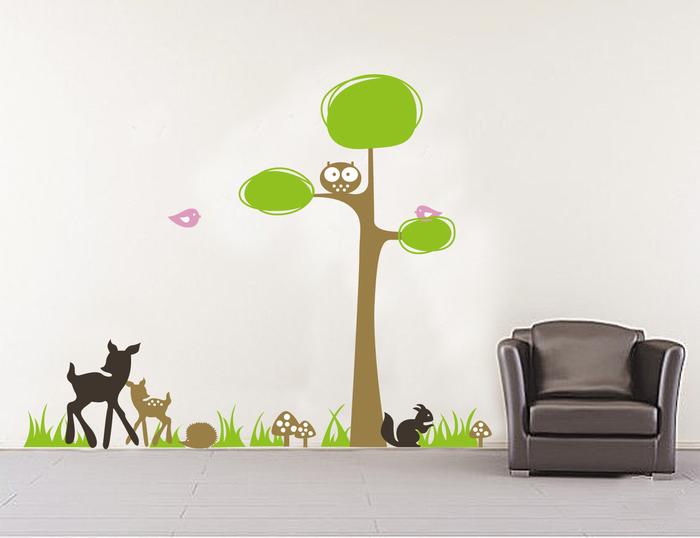 110*80 cm Owl Tree Wall Decals Stickers Kangaroo and Deer Home Decor Mural for Nursery Kids Room (China (Mainland))