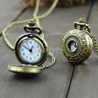 Wholesale 15pcs/lot Classical Vintage Bronze Steampunk Quartz Necklace Pendant Chain Clock Pocket Watch Chinese Zodiac 18963