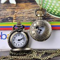 Wholesale 5pcs/lot Classical Vintage Style Heart Hollow Bronze Steampunk Quartz Necklace Pendant Chain Clock Pocket Watch 19320