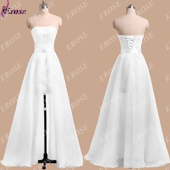 Ln-019 новинка короткое без бретелек аппликации чистый белый свадебное платье свадебное платье со съемным юбка