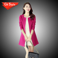 Women Boutique Fashion Slim Full Sleeve Collarless Trench Coat Crew Neck Long Casual Covered Button Spliced Outerwear GWF-6678