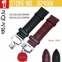 TOP New Men Watchbands,14 16 18 20 21 22 24 mm Fold Deploy Clasp,Genuine Leather,Crocodile Grain Watch Band Free Shipping 2006