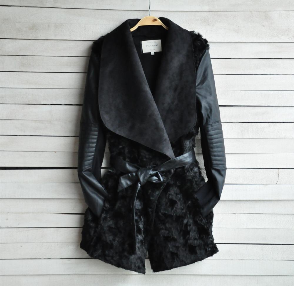 New 2014 European and American Fashion Winter Fur Coat Women Slim Outerwear Long sleeve PU Leather Jackets Women Black AD09(China (Mainland))