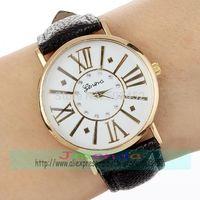 100pcs/lot Exclusive Design Roman Style Leather Watch Factory Price Ladies Quartz GENEVA Logo Watch Wrap Dress Women Watch