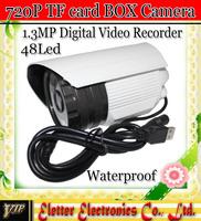 1.3MP HD CCTV SD card video camera DVR Surveillance waterproof outdoor Box Camera 48 IR LED EH307 free shipping