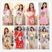 Summer cartoon sleepwear short-sleeve nightgown girls loose casual Women's pajamas at home service 202