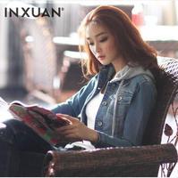 [TC] New 2014 women jacket long sleeve hooded denim jacket for women outerwear short design women tops slim denim coat