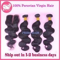 4pcs Lot 6A Peruvian Hair with Lace Closure Unprocessed 3Pcs Virgin Hair Bundles with 1pc Closure Body Wave Human Hair Extension