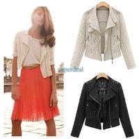2014 Spring Autumn Fashion Women Cool Short Jacket Lace Biker Metal Zipper Long Sleeve Short Jacket Outwear 19421 Z
