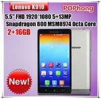 Original Lenovo Vibe Z K910 Qualcomm Snapdragon 800 Smartphone 5.5 inch FHD Screen Android 13MP