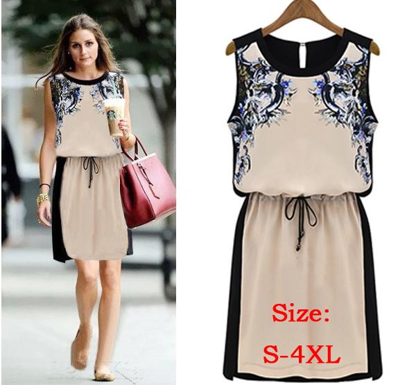 New 2014 Printed Dress Summer Women's clothing Pinched Waist Chiffon dress Casual Dress Women Sleeveless dress(China (Mainland))